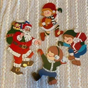Christmas Santa Clause wooden hangers decorations